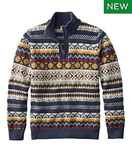 Men's L.L.Bean Organic Cotton Sweater, Quarter-Zip, Fair Isle
