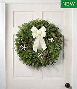 "Coastal Evergreen Wreath, 24"""