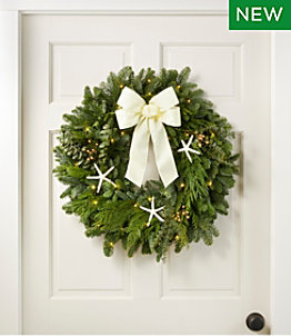 "Coastal Evergreen Wreath, Lighted, 24"""
