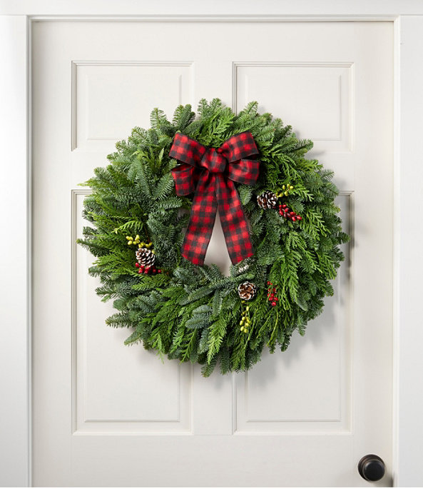 """NEW Buffalo Plaid Wreath 24"""", One Color, large image number 0"""