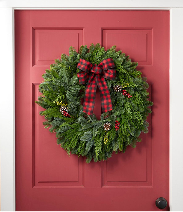 """NEW Buffalo Plaid Wreath 24"""", One Color, large image number 1"""